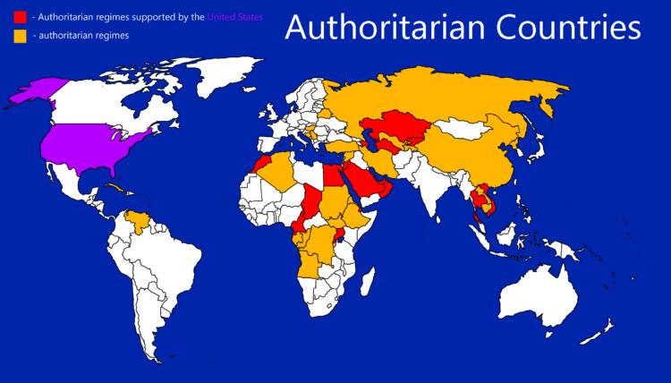 Желтым на карте выделены авторитарные страны.