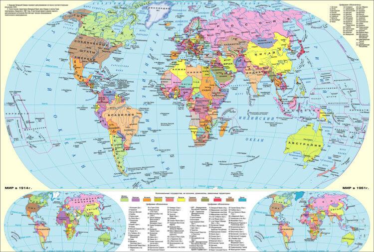 Большая политическая карта мира выглядит так.