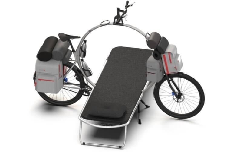 Разработан туристический велосипед со встроенным столом и кроватью
